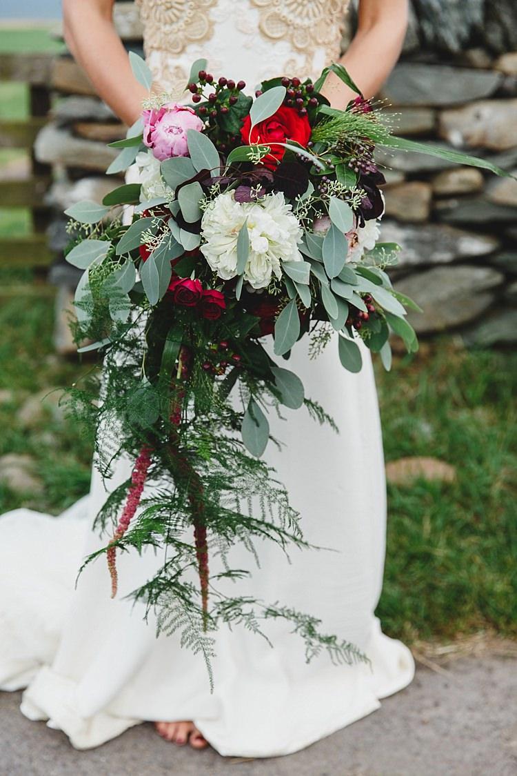 Peony Eucalyptus Rose Fern Wild Artistic Ethereal Wedding http://sarahannweddings.com/