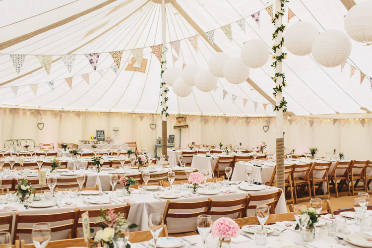 Pole Tent Marquee Bunting Lanterns Relaxed Country Garden Party Wedding http://www.jessicaoshaughnessy.co.uk/