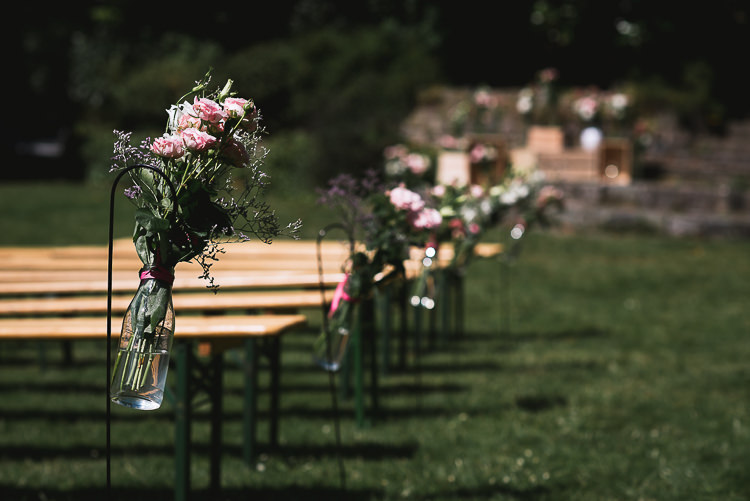 Sheppard Hook Flowers Jars Pink Aisle Ceremony Relaxed Outdoor City Park Festival Wedding http://kristianlevenphotography.co.uk/