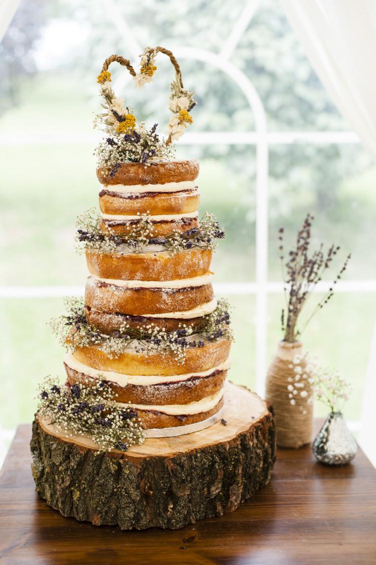 Naked Cake Sponge Tower Layer Fruit Flowers Log Whimsical Summery Lilac Wedding http://eleanorjaneweddings.co.uk/