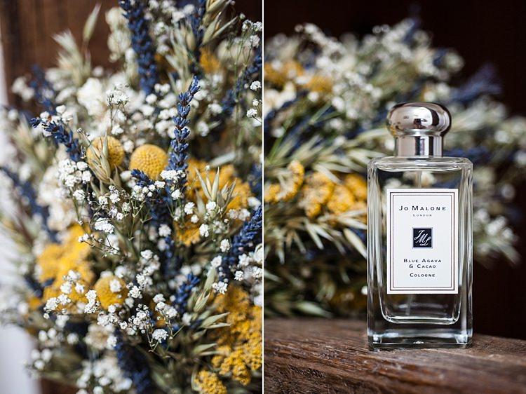 Jo Malone Purfume Dried Flowers Whimsical Summery Lilac Wedding http://eleanorjaneweddings.co.uk/