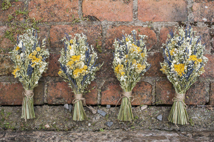 Dried Flower Bouquets Bridesmaids Yellow Whimsical Summery Lilac Wedding http://eleanorjaneweddings.co.uk/