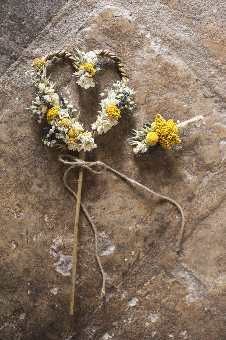 Dried Flower Wand Girl Buttonhole Whimsical Summery Lilac Wedding http://eleanorjaneweddings.co.uk/