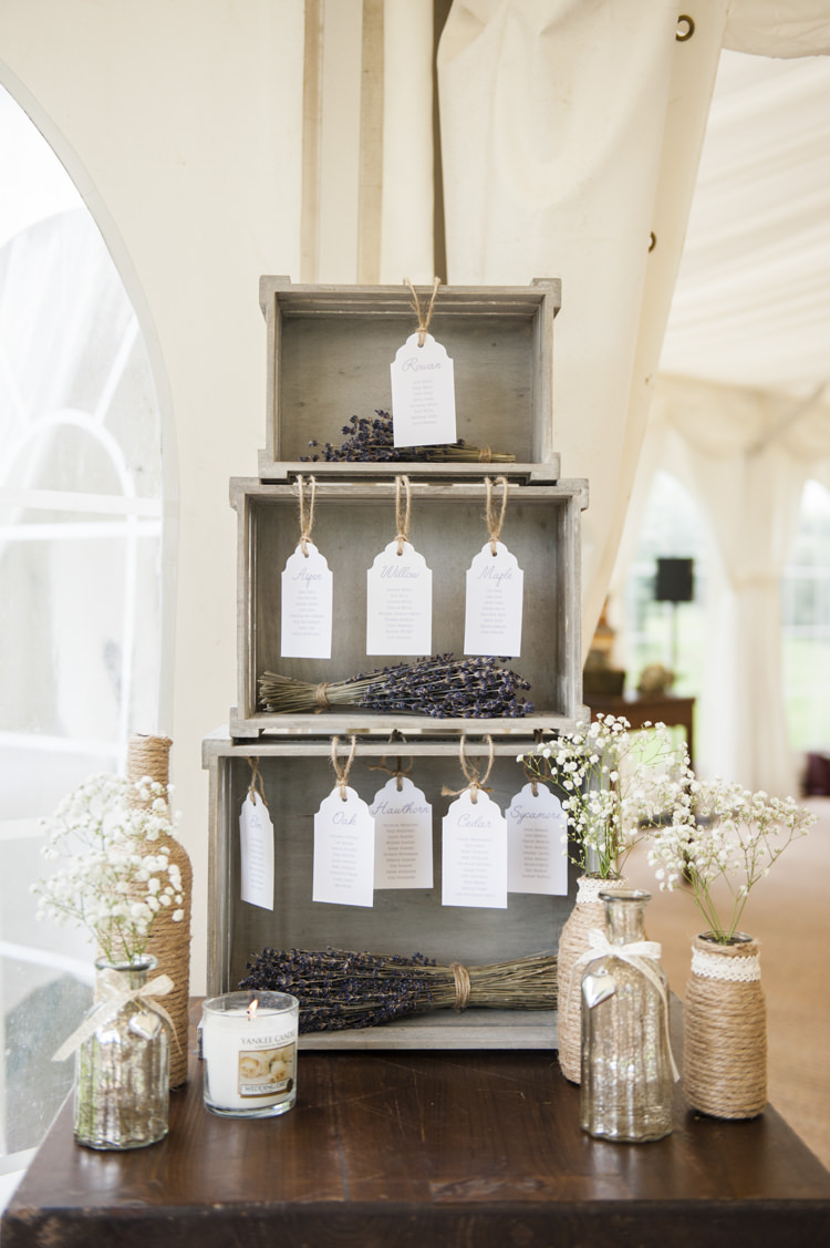 Crate Seating Plan Table Chart Lavender Tags Whimsical Summery Lilac Wedding http://eleanorjaneweddings.co.uk/