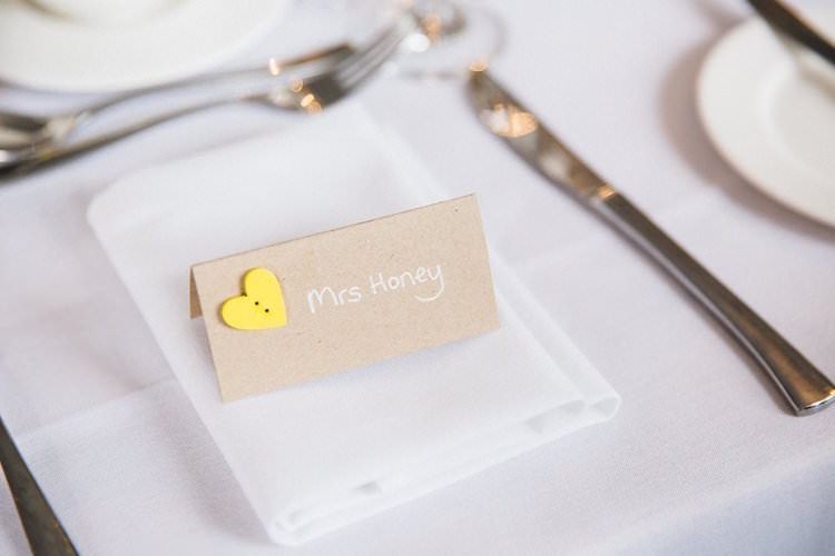 Button Brown Paper Place Card Setting Sweet Quirky Yellow Antique Wedding https://www.redonblonde.com/