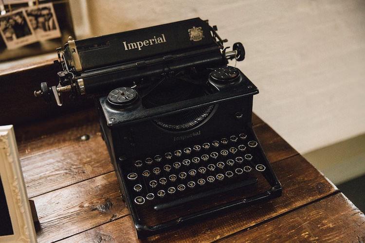 Vintage Typewriter Sweet Quirky Yellow Antique Wedding https://www.redonblonde.com/