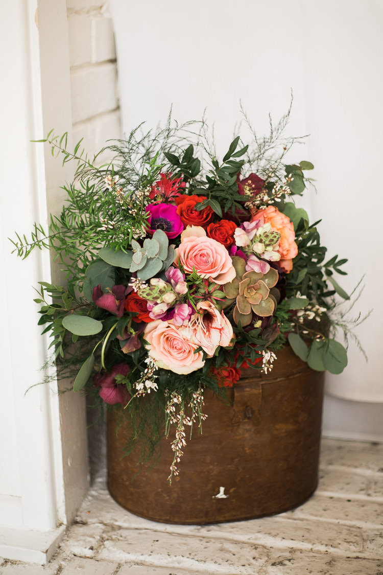 Flowers Tin Can Roses Succulents Greenery Luxe Copper & Red Wedding Ideas http://www.danielle-smith-photography.com/