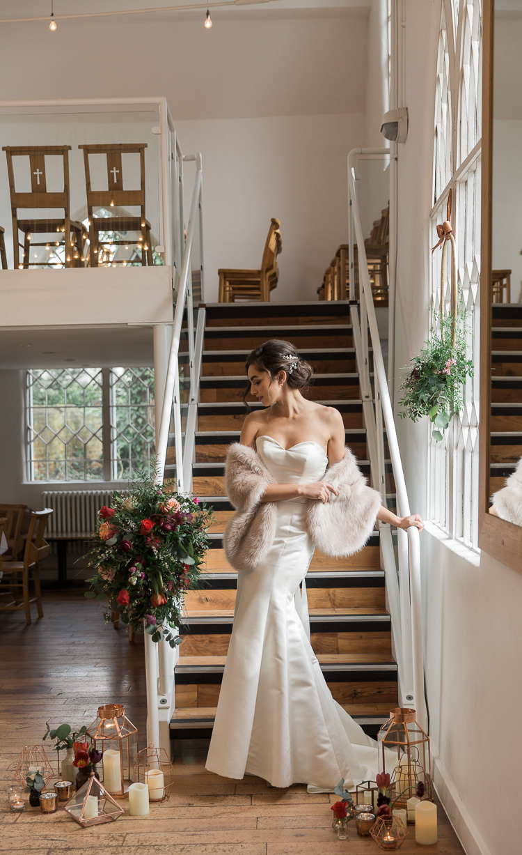 Mermaid Fishtail Dress Gown Bride Bridal Luxe Copper & Red Wedding Ideas http://www.danielle-smith-photography.com/