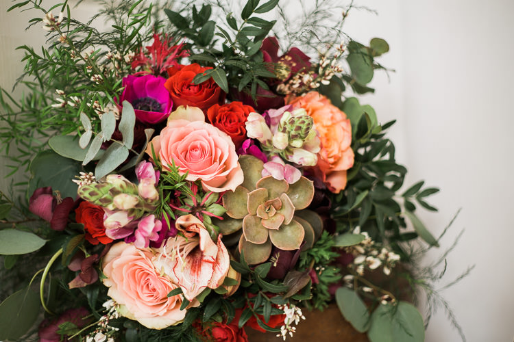 Flowers Roses Succulents Greenery Luxe Copper & Red Wedding Ideas http://www.danielle-smith-photography.com/