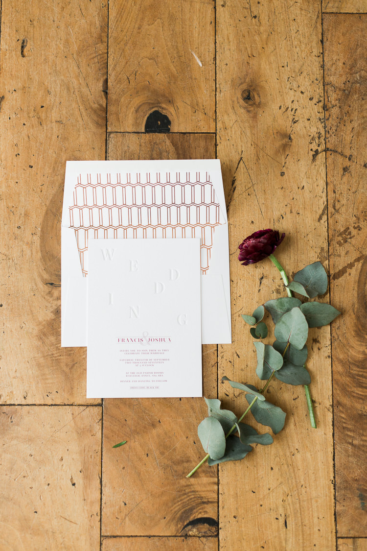 Rose Gold Modern Stationery Invitation Luxe Copper & Red Wedding Ideas http://www.danielle-smith-photography.com/