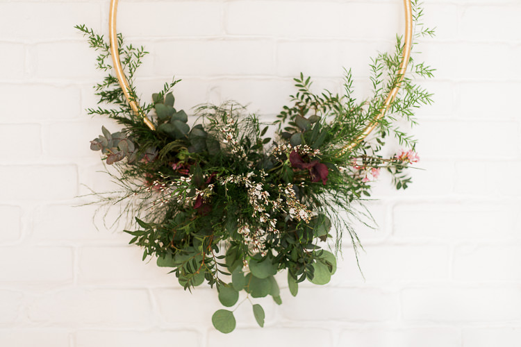 Hoop Flowers Decor Luxe Copper & Red Wedding Ideas http://www.danielle-smith-photography.com/