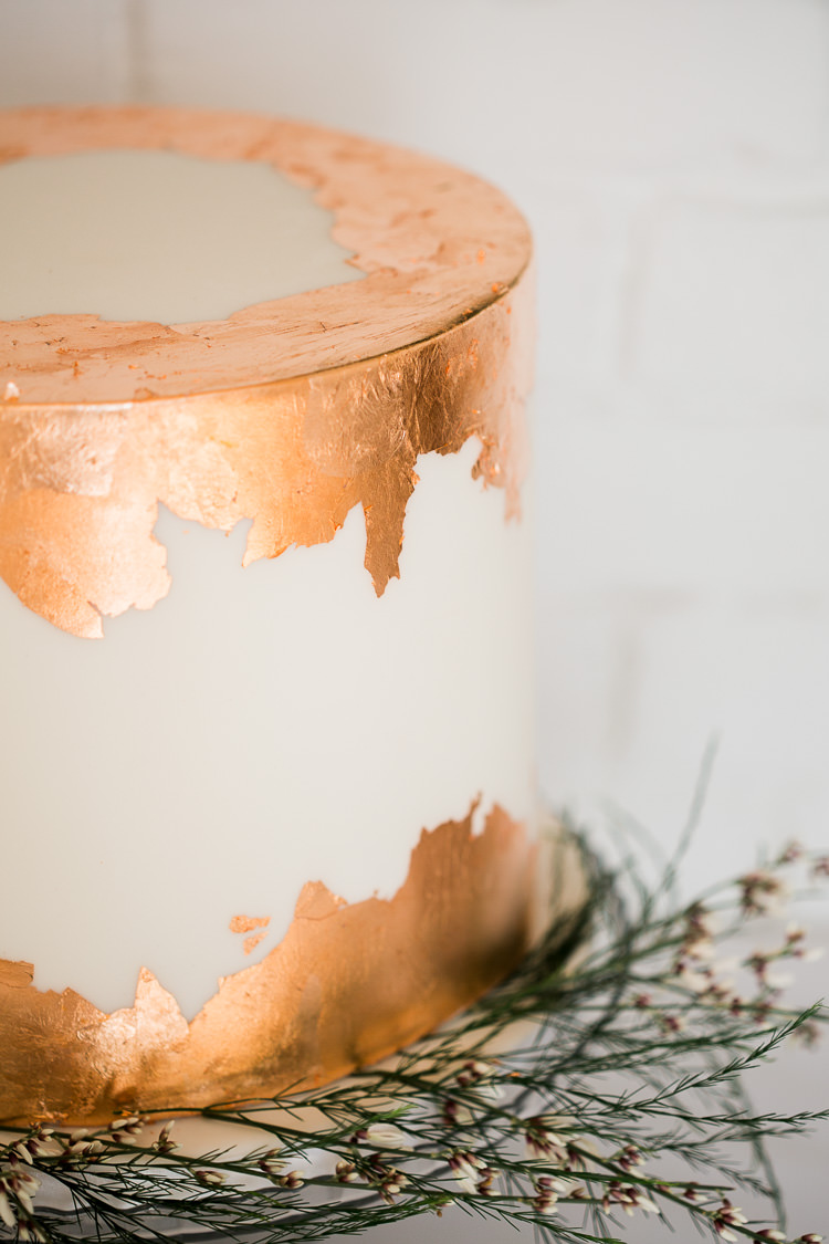 Leaf Metallic Cake Modern Luxe Copper & Red Wedding Ideas http://www.danielle-smith-photography.com/