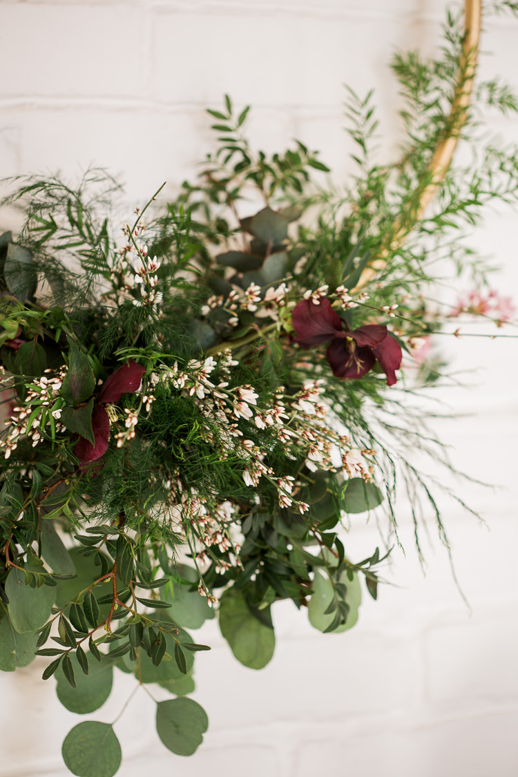 Hoop Flowers Greenery Foliage Decor Luxe Copper & Red Wedding Ideas http://www.danielle-smith-photography.com/