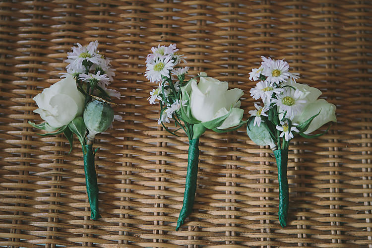 Rose Daisy Buttonholes Lovely Greenery Farm Tipi Wedding http://www.victoriasomersethowphotography.co.uk/