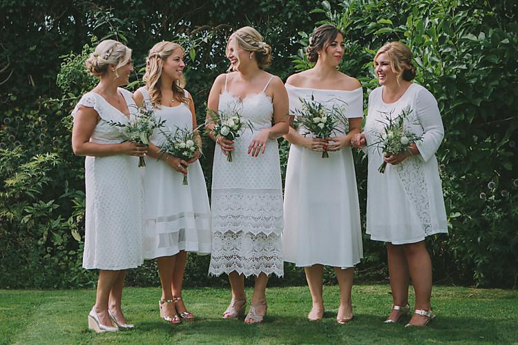 Mismatched White Bridesmaid Dresses Lovely Greenery Farm Tipi Wedding http://www.victoriasomersethowphotography.co.uk/