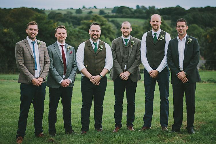 Mismatched Tweed Groomsmen Lovely Greenery Farm Tipi Wedding http://www.victoriasomersethowphotography.co.uk/