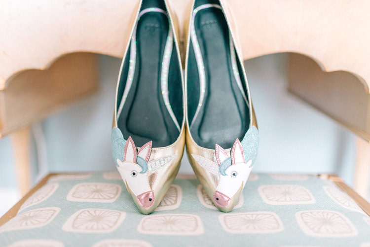 Unicorn Shoes Bride Bridal Flats Playful Stylish Navy Winter Wedding http://sarahjaneethan.co.uk/