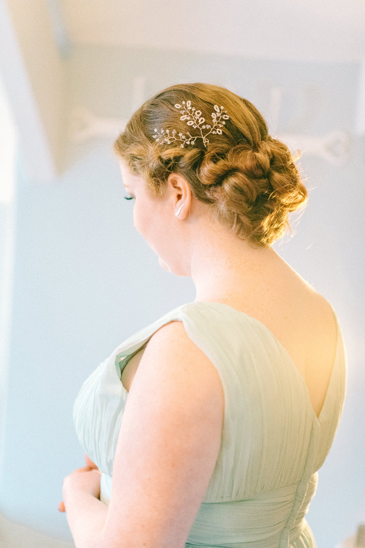 Bridesmaid Hair Style Accessory Up Do Playful Stylish Navy Winter Wedding http://sarahjaneethan.co.uk/