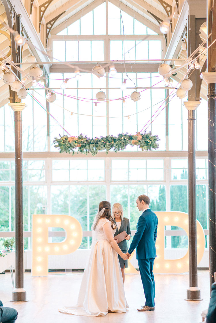 Hexham Winter Gardens Ceremony Playful Stylish Navy Winter Wedding http://sarahjaneethan.co.uk/