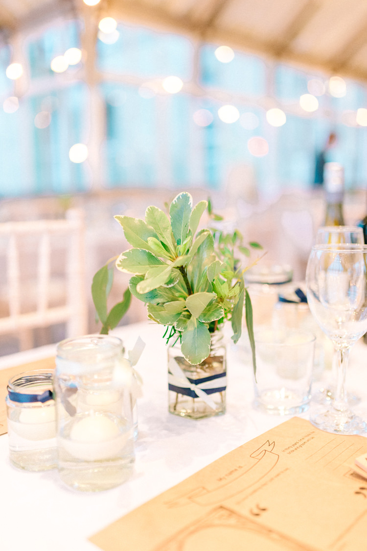 Jar Flowers Playful Stylish Navy Winter Wedding http://sarahjaneethan.co.uk/