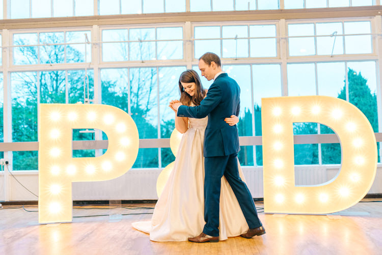 Letter Lights Playful Stylish Navy Winter Wedding http://sarahjaneethan.co.uk/