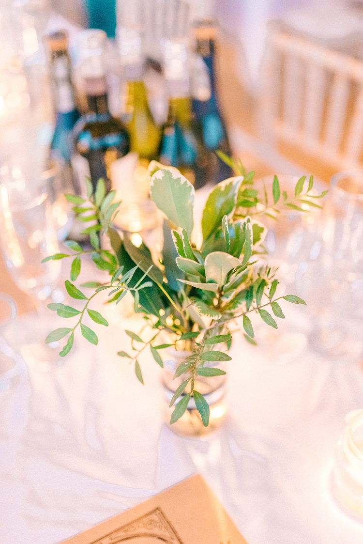 Foliage Jars Decor Playful Stylish Navy Winter Wedding http://sarahjaneethan.co.uk/
