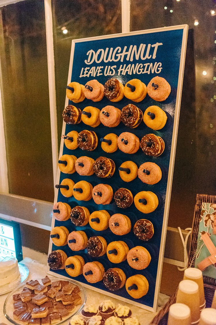 Donut Doughnut Dessert Table Cake Playful Stylish Navy Winter Wedding http://sarahjaneethan.co.uk/