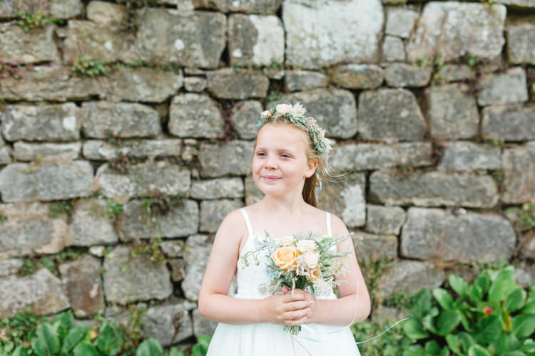 Flower Girl Crown Bouquet Peach Whimsical Pastel Travel Wedding https://www.thegibsonsphotography.co.uk/