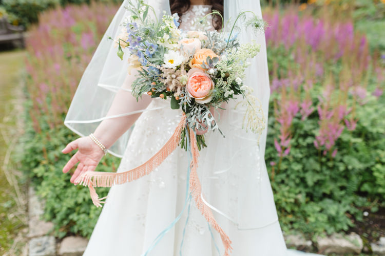 Peach Blue Bouquet Flowers Bride Bridal Ribbons Whimsical Pastel Travel Wedding https://www.thegibsonsphotography.co.uk/