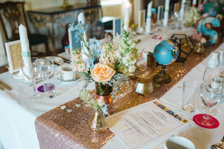 Sequin Table Runner Flowers Decor Whimsical Pastel Travel Wedding https://www.thegibsonsphotography.co.uk/