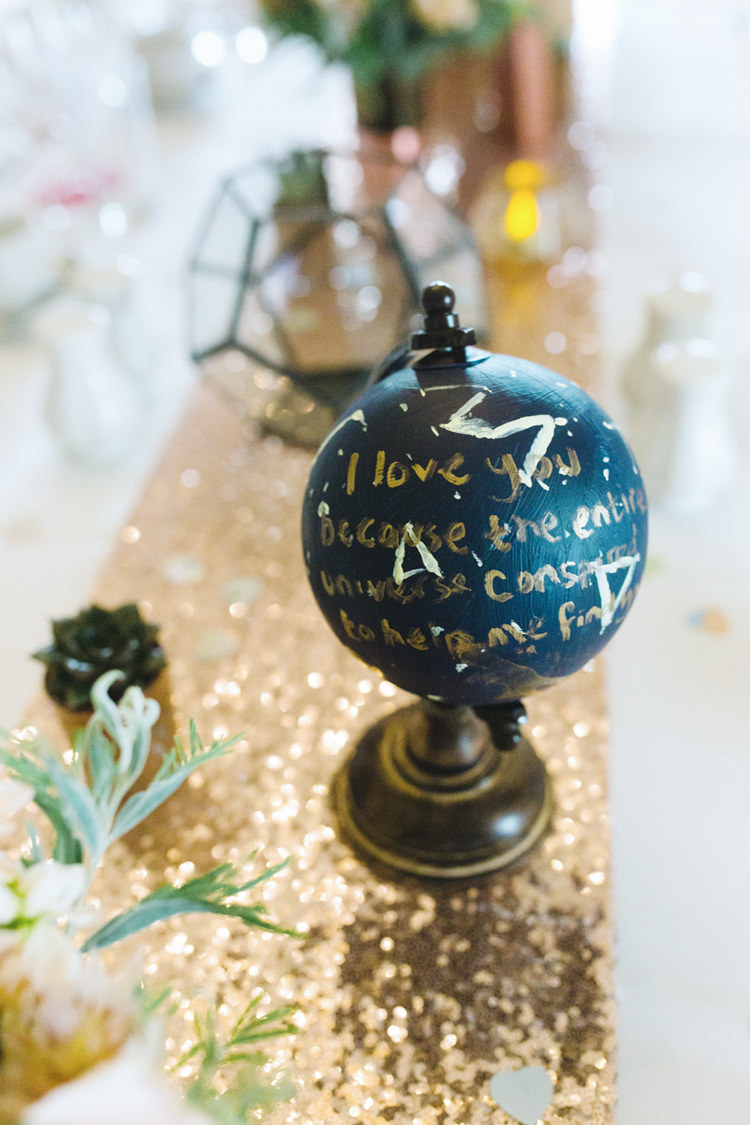 Painted Globe Sequin Table Cloth Whimsical Pastel Travel Wedding https://www.thegibsonsphotography.co.uk/