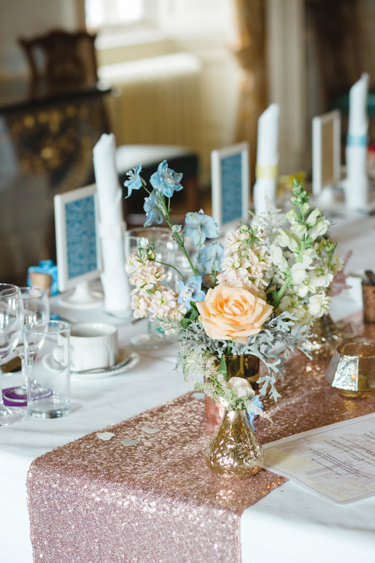 Sequin Table Runner Flowesr Vases Metallic Whimsical Pastel Travel Wedding https://www.thegibsonsphotography.co.uk/