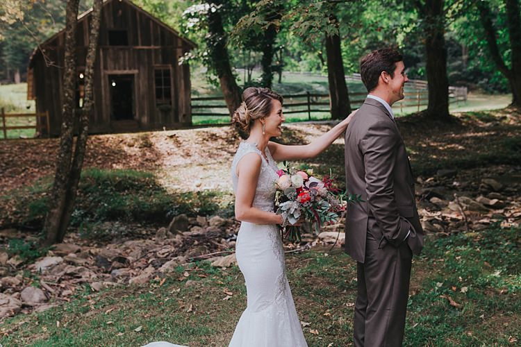 Outdoor First Look Bride V Neck Lace Embellished Bridal Gown Multicoloured Bouquet Groom Grey Suit Bohemian & Whimsical Garden Wedding in North Carolina http://www.taylorparkerphotography.com/