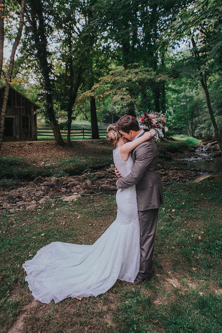 Outdoor First Look Bride V Neck Lace Embellished Bridal Gown Multicoloured Bouquet Groom Grey Suit White Shirt Bohemian & Whimsical Garden Wedding in North Carolina http://www.taylorparkerphotography.com/