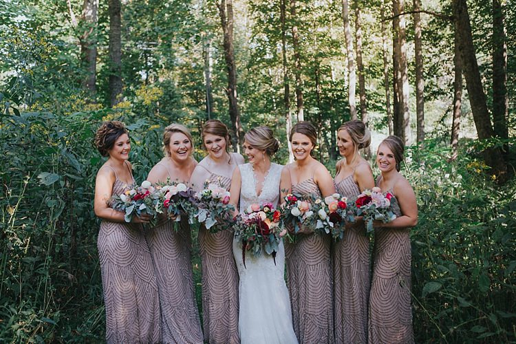 Bride V Neck Lace Embellished Bridal Gown Bridesmaids Champagne Sequin Dresses Multicoloured Bouquets Roses Dahlia Greenery Bohemian & Whimsical Garden Wedding in North Carolina http://www.taylorparkerphotography.com/