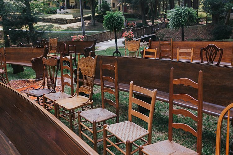 Outdoor Ceremony Mismatched Wooden Chairs Pews Bohemian & Whimsical Garden Wedding in North Carolina http://www.taylorparkerphotography.com/