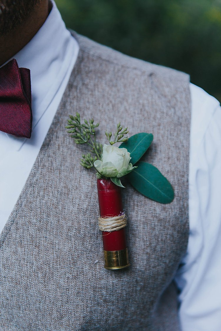 Groomsman White Shirt Maroon Bowtie Grey Vest Floral Shotgun Shell Buttonhole Twine Bohemian & Whimsical Garden Wedding in North Carolina http://www.taylorparkerphotography.com/
