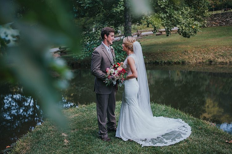 Bride V Neck Lace Embellished Bridal Gown Long Veil Multicoloured Bouquet Groom Grey Suit White Shirt Light Grey Tie Vest Bohemian & Whimsical Garden Wedding in North Carolina http://www.taylorparkerphotography.com/