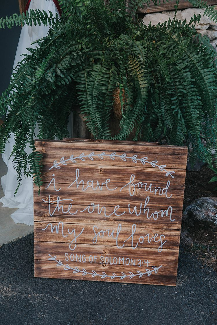 Reception Wooden Sign Love Quote White Calligraphy Green Fern Bohemian & Whimsical Garden Wedding in North Carolina http://www.taylorparkerphotography.com/