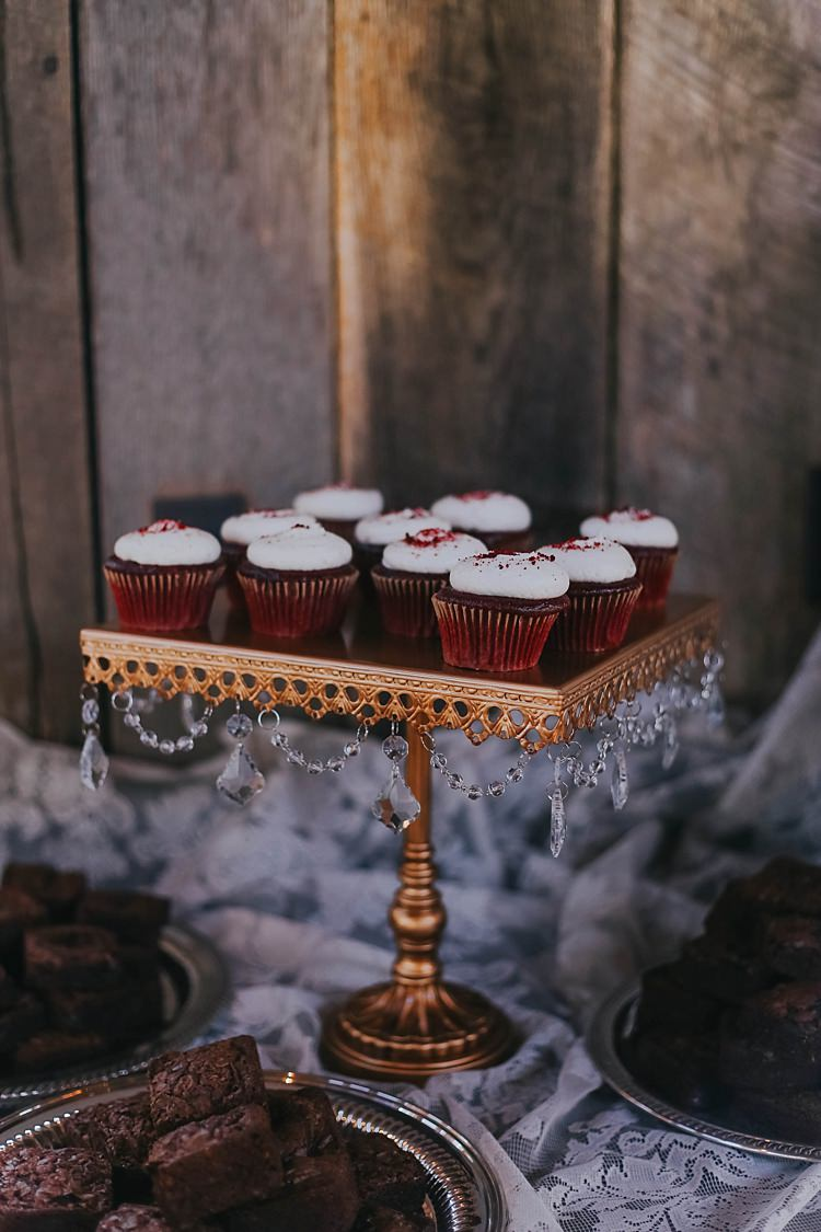 Reception Dessert Table Red Velvet Cupcakes Gold Crystal Stand Brownies Lace Tablecloth Bohemian & Whimsical Garden Wedding in North Carolina http://www.taylorparkerphotography.com/