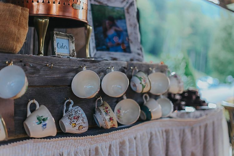 Reception Tea Coffee Bar Vintage Floral Teacups Copper Urn Framed Photograph Bohemian & Whimsical Garden Wedding in North Carolina http://www.taylorparkerphotography.com/