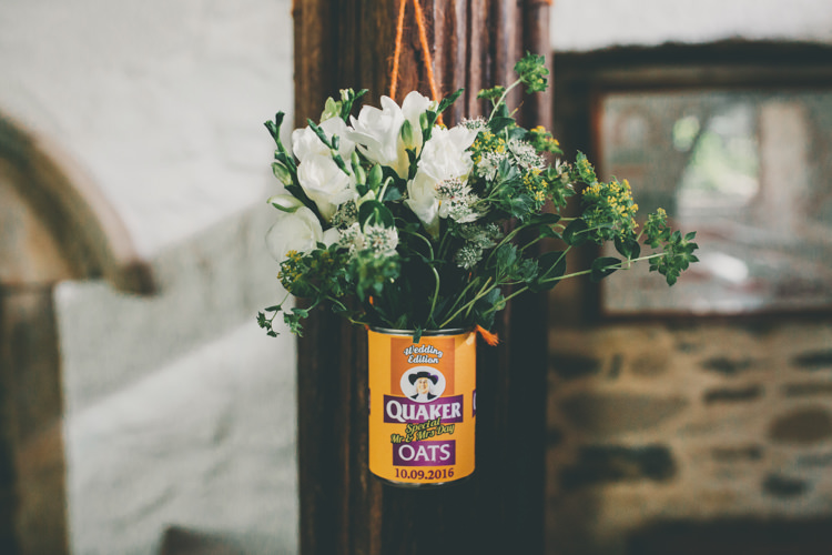 Tin Can Flowers Pew End Aisle Ceremony Bright Retro Vintage Sea Wedding http://www.larissajoice.co.uk/