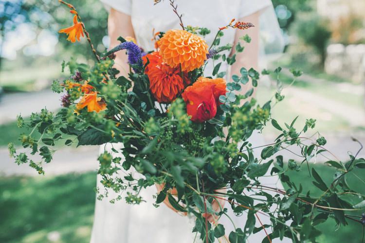 Bouquet Bride Bridal Flowers DIY Home Grown Dahlia Bright Retro Vintage Sea Wedding http://www.larissajoice.co.uk/