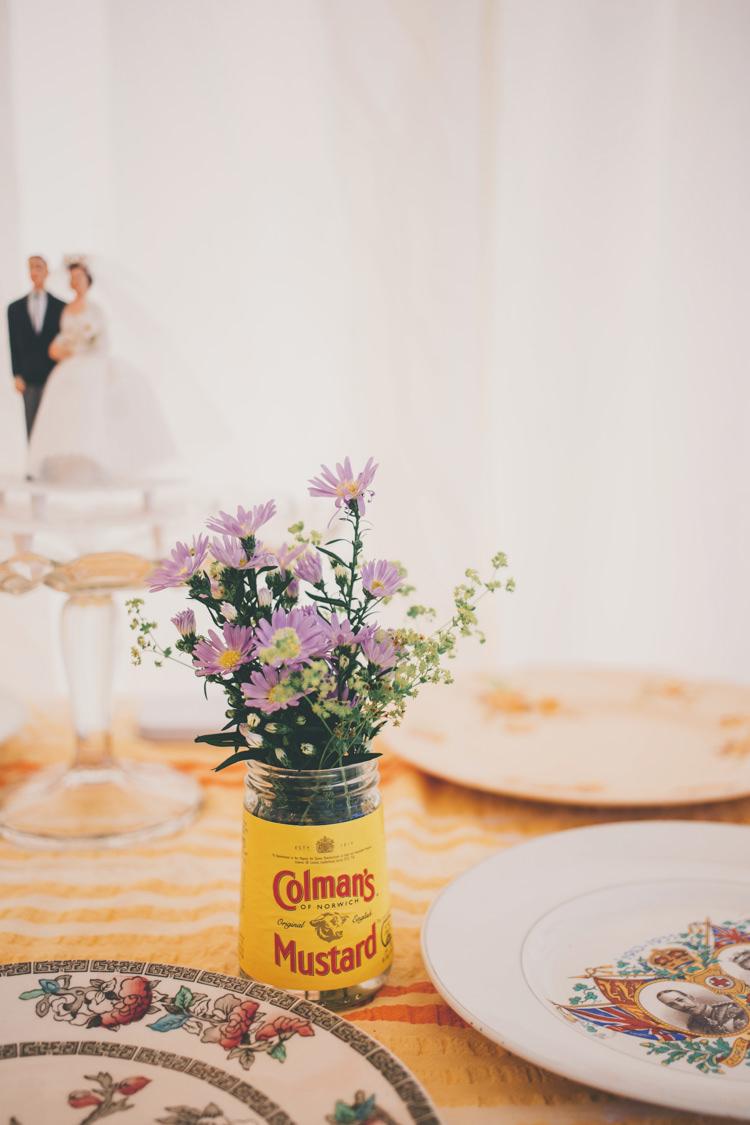Jar Flowers Mustard Bright Retro Vintage Sea Wedding http://www.larissajoice.co.uk/