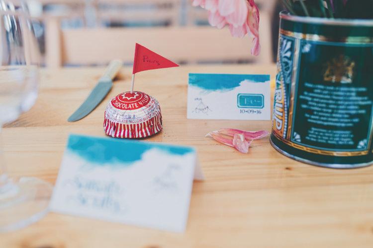 Tea Cake Favour Flag Place Name Bright Retro Vintage Sea Wedding http://www.larissajoice.co.uk/