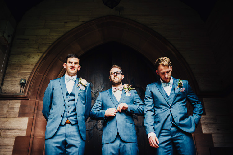 Blue Suits Next Groom Groomsmen Quirky Stylish Country House Wedding http://www.stevebridgwoodphotography.co.uk/