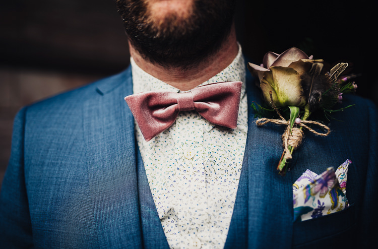 Pink Bow Tie Groom  Rose Buttonhole Quirky Stylish Country House Wedding http://www.stevebridgwoodphotography.co.uk/
