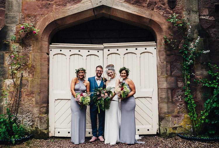 Long Lilac Bridesmaid Dresses Grey Quirky Stylish Country House Wedding http://www.stevebridgwoodphotography.co.uk/