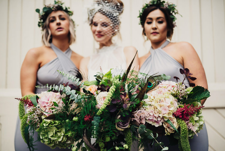 Bride Bridesmaid Bouquets Flowers Feathers Hydrangeas Foliage Quirky Stylish Country House Wedding http://www.stevebridgwoodphotography.co.uk/