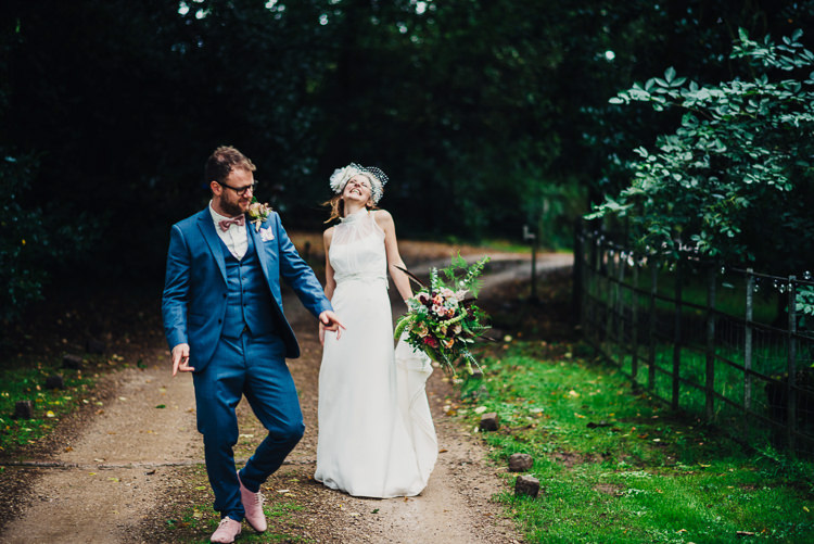Blue Suit Pink Bow Tie Shoes Groom Quirky Stylish Country House Wedding http://www.stevebridgwoodphotography.co.uk/